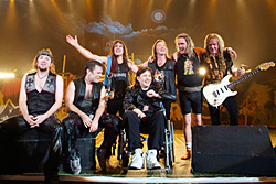 Image of Iron Maiden with Clive Burr at the 'Clive Aid' gig
