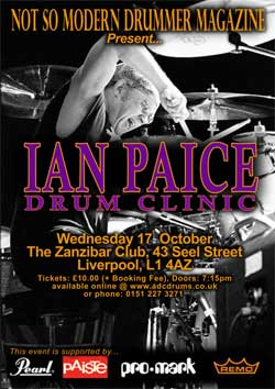 Image of Ian Paice drum clinic flyer