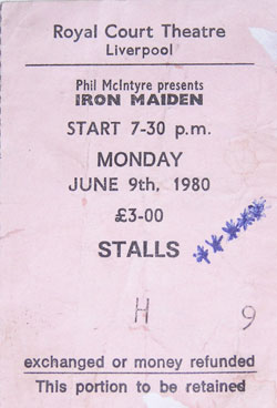 Image of my Iron Maiden concert ticket