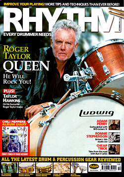 Image of Roger Taylor on the cover of Rhythm magazine