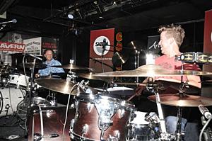 Ralph Salmins & Karl Brazil, drum duet, The Cavern, 2011