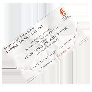 Alison Krauss Ticket, Liverpool Philharmonic Hall, 2012