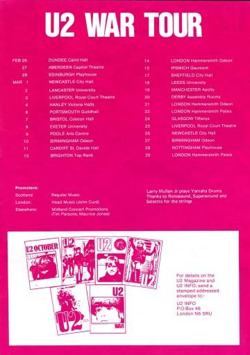 U2 UK Tour Dates, 1983